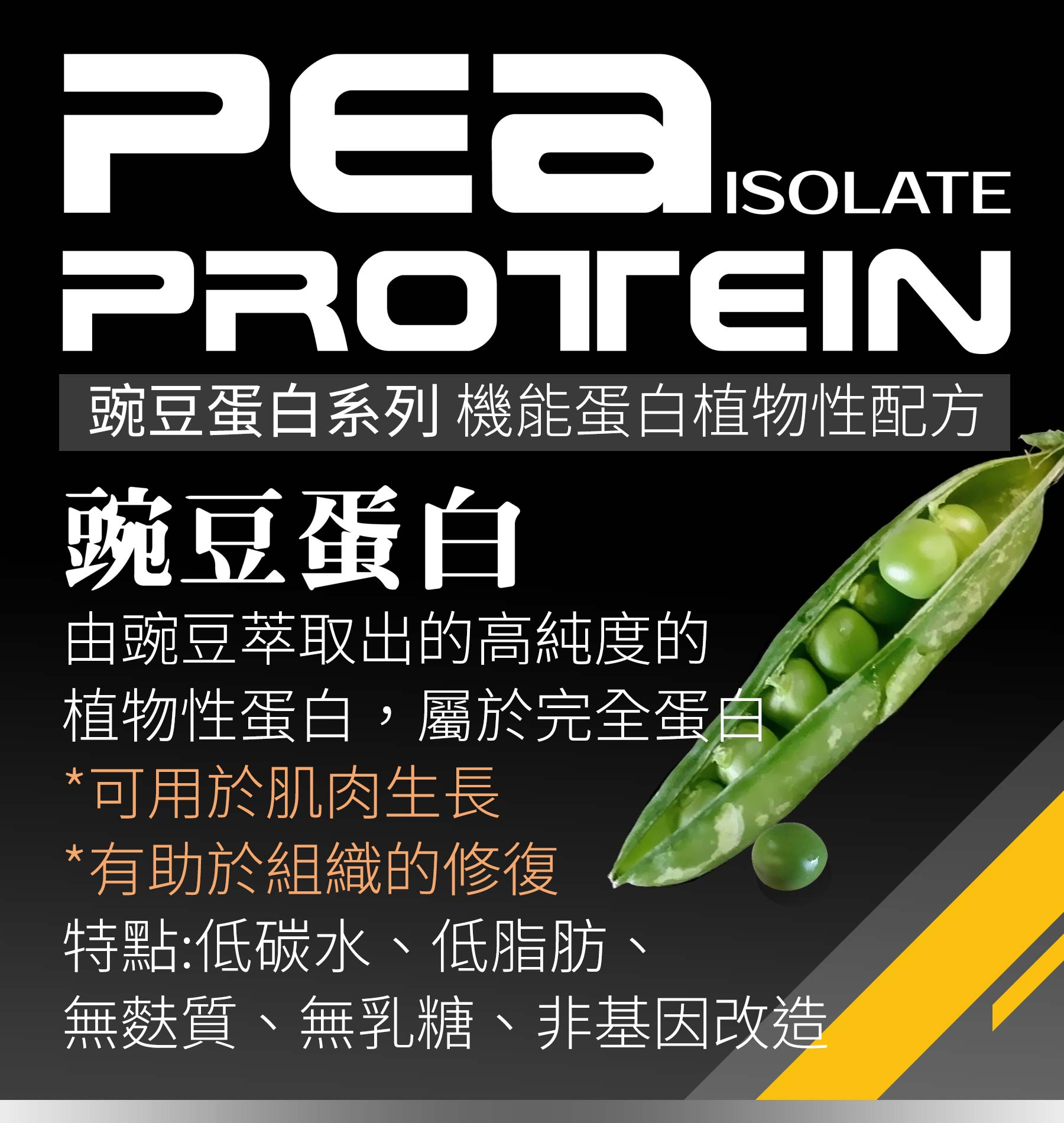 豌豆蛋白由豌豆萃取出的高純度植物性蛋白,屬於完全蛋白