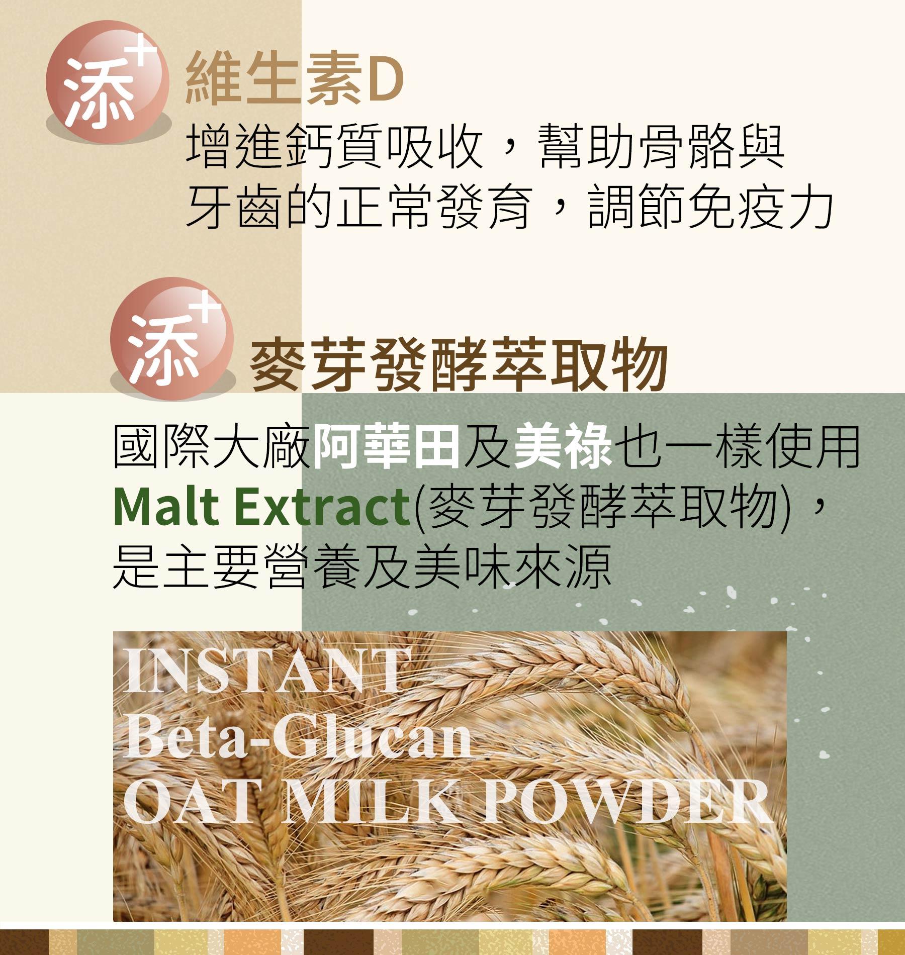 即溶葡聚醣酵解燕麥奶添加維生素D及麥芽發酵萃取物